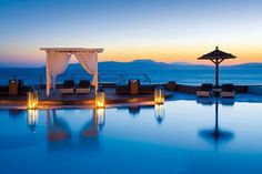 Sunset by the Pool - haven't been to this particular hotel but love Mykonos.