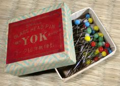 Glass Headed Sewing Pins Japanese Vintage