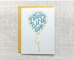 Yellow Balloon Happy Birthday Card - Hand Lettered Birthday Card - Hennel Paper Co.