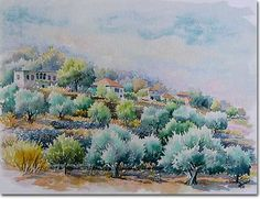 Art prints pictures, painting, village of Lebanon: Rachaya and Olive trees
