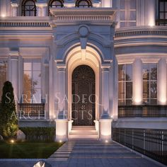 A classic elegance , with details done with care and without the expected repetition private villa 600 m kuwait 🤩 Neoclassical Architecture, Classic Architecture, Modern Architecture House, Villa Design, Facade Design, Exterior Design, Classic House Exterior, Classic House Design, Classic Building
