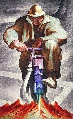 Harold Lehman (American artist, 1913-2006) The Driller (Mural at Rikers Island, New York), 1937
