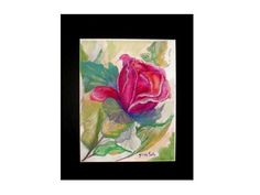 Roses are Red Watercolor Painting Print by PrintedPaintingLady