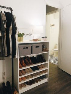 Home Decor Minimalist Shoe storage with the Ikea Billy Bookcase.Home Decor Minimalist Shoe storage with the Ikea Billy Bookcase Shoe Storage Hacks, Closet Shoe Storage, Diy Shoe Rack, Ikea Closet, Ikea Storage, Bedroom Storage, Ikea Rack, Target Home Decor, Cheap Home Decor