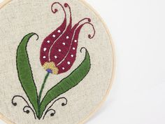 Embroidery Hoop Art Turkish Tulip Wall Hanging by Lylaaccessories