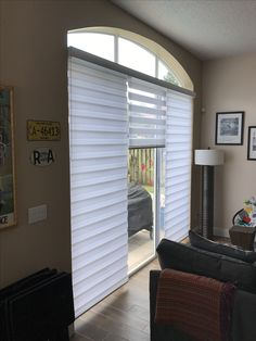 3 in 1 sliding door Zebra Illusion Shades by Elite Decor Miami Window Blinds, Blinds For Windows, Privacy Shades, Basement Doors, Sliding Doors, Window Treatments, Illusion, Miami, Curtains