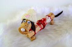 Dachshund Dog in Winter Wine Cork Puppy Ornament, Wine Cork Craft, Wine Decor, Wine Gift