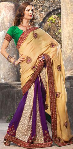 Gorgeous Beige Brown Silk Georgette Saree - IG5930 USD $ 77.45