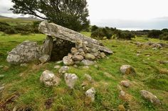 ~ neolitihic Cors-y-Gedol burial chamber on the hillside above Llanddwywe ~ Wales ~ Irish Sea to the right in the background ~