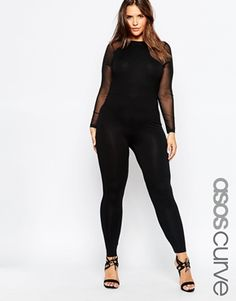 ASOS CURVE Bodyfit Jumpsuit with Mesh Panels