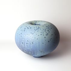 Ted Secombe round blue urchin form 2015 porcelain, satin matte crystalline h 23 x d 29cm
