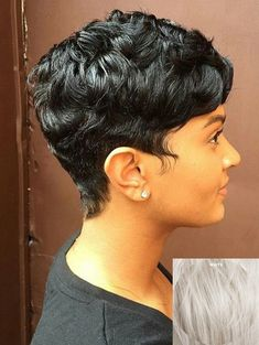 Buy Short Side Bang Layered Slightly Curly Capless Human Hair Wig, sale ends soon. Be inspired: enjoy affordable quality shopping at Gearbest! Dope Hairstyles, Cute Hairstyles For Short Hair, Short Hair Cuts For Women, Braided Hairstyles, Curly Hair Styles, Natural Hair Styles, Short Cuts, Female Hairstyles, Black Hairstyle