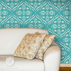 Chloe Floral Trellis Wall Stencil For back patio floors and front entry walls