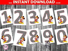 Mickey Mouse Roadster Racers centerpiece designs, all ages, Instant Download,  Mickey Mouse Centerpieces, Mickey party, party decorations by AtoZparties on Etsy