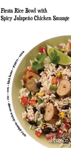 Easy to cook and easy to enjoy. This Spicy Jalapeno Fiesta Rice Bowl recipe with al fresco Chicken Sausage can be on your table in less than 25 minutes. Perfect for any fiesta.