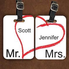 Mr & Mrs Luggage Tags personalized with bride and grooms contact info.