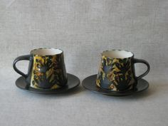 2 Newlyn Celtic Pottery Cups and Saucers by TheKnally on Etsy