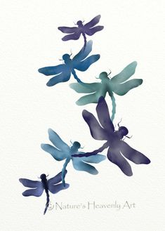 Purple Blue Dragonfly Print Wall Art by NaturesHeavenlyArt,
