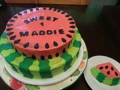 watermelon 1st birthday cake