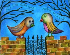 8''x10'' Print of  'Two Little Dicky Birds' original artwork by Sarah Playfer.