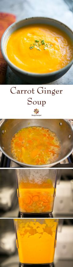 Carrot Ginger Soup ~ Smooth carrot soup with ginger, orange and chicken stock. So easy and healthy too! ~ SimplyRecipes.com Ginger Soup Recipe, Carrot Ginger Soup, Soup Recipes, Vegan Recipes, Cooking Recipes, Cooking Corn, Sopas Low Carb, Soup And Salad, Crockpot