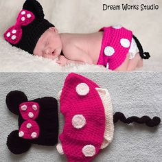 3PCs Infant Baby Crochet, Baby Photo Prop Minnie Mouse Outfit Costume Hat Diaper cover,Newborn photo prop, baby girl clothes baby costume 2