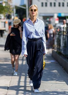 "- ""Extra-long, baggy trousers make me look really stumpy and sloppy. Instead I opt for an elongated, polished vibe with a more tailored silhouette.""—Laura Lajiness, Fashion Editor"