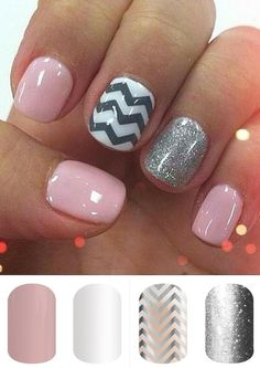 This is one of the most re-pinned manicures on pinterest. Create this look yourself using Jamberry's Day Dream, Whiteout, Silver Chevron (layer Silver Chevron over Whiteout) and Diamond Dust Sparkle. Super quick and super easy!