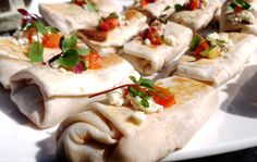 Mini Bean & Cheese Burritos: appetizer portioned burritos stuffed with freshly made beans and savory cheese.  More info: http://www.sohotaco.com/2014/04/18/tantalizing-appetizers-for-a-terrific-laguna-beach-birthday  #tacocatering #tacocartcatering #lagunabeach #orangecounty