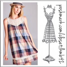 Prairie Girl Plaid Dress Get this darling look! Plaid prairie shift mini dress with crochet lace yoke and trim. Fabulous array of hued colors blue, yellow, beige, wine and rust. Made of a cotton blend. Size S, M, L pair with leggings or wear as a mini dress gingham, a line Threads & Trends Dresses