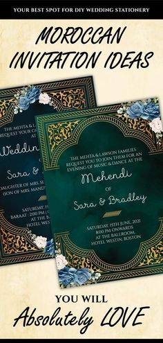 This Royal Jewel Tones Wedding invitation set is perfect for you if you are looking for printable wedding invite and easy-to-customize editable template downloads for your Arabic Invitations!This DIY Emerald Green Wedding suite invitation with Navy Blue Flowers includes a digital invitation download each for any 3 of your functions for your Modern Arabic Wedding card template, be it a Sangeet, Wedding, Nikah or Reception! Royal Indian Wedding, Arab Wedding, Wedding Suite, Moroccan Wedding, Diy Wedding Stationery, Indian Wedding Invitations, Wedding Invitation Sets, Invite, Wedding Card Templates