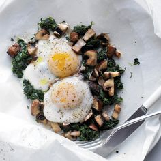 Eggs with Mushrooms and Spinach Recipe | Martha Stewart