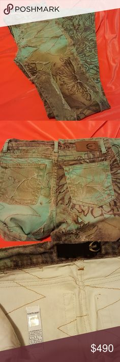 AUTHENTIC  JUSTCAVALLI  LACE&STONE WASH JEAN Authentic,Brand-New,unused,unworn,no alter,no damage,no stain,no tear.. Made in ITALY,Size 26-40 Medium rise,flare style..embroidered stone wash with ripped lace.  JustCavalli limited edition  Collection .. Just Cavalli Jeans Flare & Wide Leg