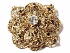 винтажный чешское золотистые серьгами wirework цветочный заколка Брошь crytsal стеклянные стразы