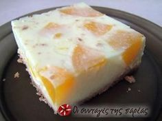 Great recipe for Dimitroula's peach gelatin dessert. A very easy and refreshing dessert! My teacher, Dimitroula, gave me this recipe a long time ago and it has been a favorite in our family since then. Recipe by Sitronella Greek Sweets, Greek Desserts, Cold Desserts, Greek Recipes, Summer Dessert Recipes, Fruit Recipes, Candy Recipes, Cooking Recipes, Peach Jello