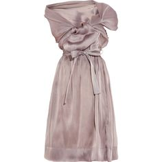 Vivienne Westwood Gold Label Riding asymmetric silk-organza dress ($1,208) ❤ liked on Polyvore featuring dresses, vivienne westwood, antique rose, cap sleeve dress, rosette dress, loose fitting dresses, cap sleeve cocktail dress and corset style dress