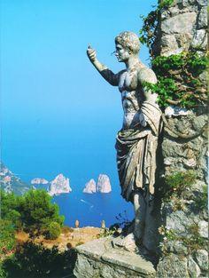statue of emperor augustus caesar overlooking the sea from mount solaro. (capri) #travelcolorfully