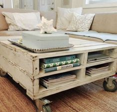 Coffee table made with wooden pallets