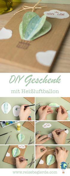 DIY Anleitung: Geschenk mit 3D-Aquarell-Heißluftballon verzieren [pimp your present]