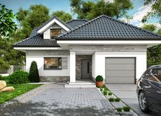 Projekt domu Maja 133,72 m² - koszt budowy - EXTRADOM Beautiful House Plans, Dream House Plans, Modern Bungalow House Plans, Architectural House Plans, My Ideal Home, House Front Design, Small Cottages, Exterior House Colors, Facade House