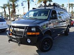 Chevy Express van with Aluminess bumpers and roof rack. 4x4 Camper Van, 4x4 Van, Chevy 4x4, Chevy Vans, Ambulance, Sportsmobile Van, Van Roof Racks, Extreme 4x4, Astro Van