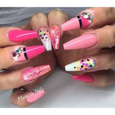 Pink Summer Coffin Nails by MargaritasNailz from Nail Art Gallery