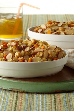 Sweet and Nutty Rice Casserole with chickpeas, carrots, golden raisins, and more. #vegetarian #recipe #healthy