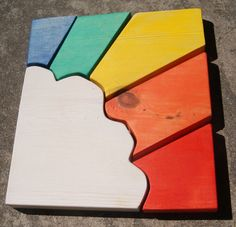 Wooden rainbow puzzle.  Great for toddlers and young children.  Tool for learning colors.  Pieces double as fun shaped colorful blocks. on Etsy, £11.42
