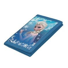 Elsa the Snow Queen Trifold Wallets - A nylon wallet featuring Elsa from Frozen that can be personalized with a name.  Click customize it to create your one of a kind Frozen gift.