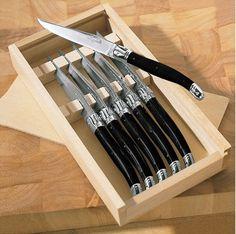 Laguiole 169 87 01 Jean Dubost 6-Piece Steak Knives (Black)