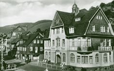 Old photograph of homes in Lauscha, Germany.
