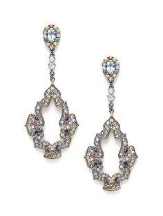 Blue Enamel & Multicolor Sapphire Geometric Drop Earrings