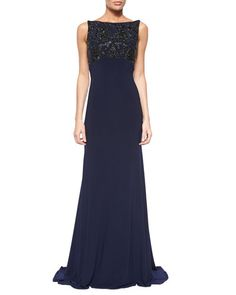 TACPZ Jovani Sleeveless Beaded Open-Back Gown