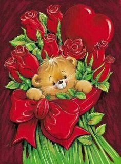 Teddy Bear Images, Teddy Pictures, Teddy Bear Cartoon, Cute Teddy Bears, Valentines Day Bears, Valentine Poster, Happy Valentines Day Images, Funny Christmas Cards, Christmas Art